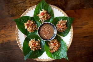 Mieng Kung, betel leaf wrap with ginger, lime, toasted coconut, dried shrimp, chilies and peanuts at Uncle Boons, a newly opened Thai restaurant and bar in SoHo.â€(R)CREDIT: Agaton Strom for The Wall Street Journalâ€(R)SLUG: HH.UncleBoons Published Credit: Agaton Strom for The Wall Street Journal